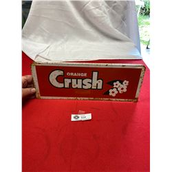 "Rare Vintage Orange Crush Bottle Rack Sign 14.5"" x5.5"""