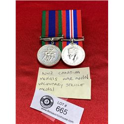 WW2 Canadian Medals, War Medal Voluntary Service Medal Silver