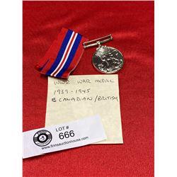 WW2 War Medal 1939 - 1945 Canadian/British