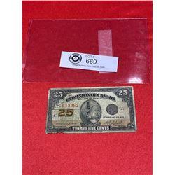 1923 Dominion Of Canada 25 Cent Note Shinplaster