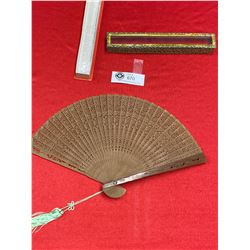 Very Nice Wooden Japanese Carved Fan