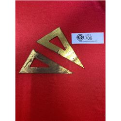 2 Vintage Brass Math Triangles ( Made in England)