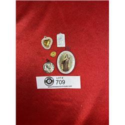 5 Vintage Religious Medallions