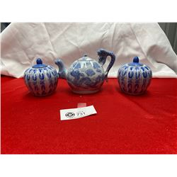 3 Pieces of Chinese Blue and White Pottery with Marks