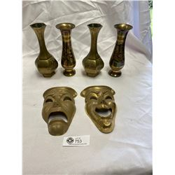 Solid Brass Smile Now Cry Later Drama plus Colured and Etched Brass Vases