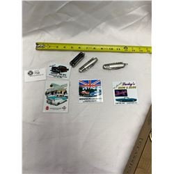 Lot of 3 Pocket Knives  and Carshow Magnets and Emblems