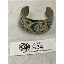 Silver with Inlaid Turquoise Cuff Bracelet Marked Alpaca
