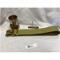 Military Belt, Collapsible Cup & Shell Corkscrew ( Trench Art)