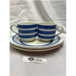 4 Pieces of Blue and White Cornish Ware