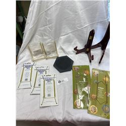 Box of Plate Hangers, Display Stands etc. Most are New