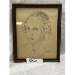 1920's-30's Very Well Done Pencil Sketch of a Girl.