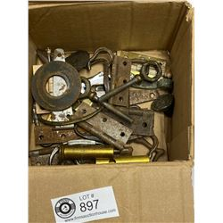 Box Lot of Vintage Hardware Hinges Etc