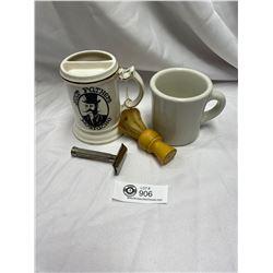 2 Vintage Shaving Mugs and Razor