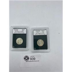 1958 Plus 1962 Swiss 1 Franc  Coins in Cases