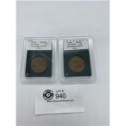 2 French 10 Centimes 1873 and 1898 in Case