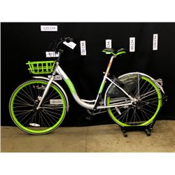 GREEN AND GREY U-BICYCLE 3 SPEED CRUISER BIKE, EX-RENTAL BIKE, HAS DIGITAL LOCK ON REAR WHEEL WHICH