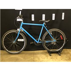 BLUE AND GREEN NO NAME 18 SPEED TRAIL BIKE, NEEDS REPAIR/MAINTENANCE, 83 CM STANDOVER HEIGHT