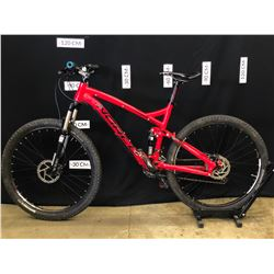 RED NORCO FLUID 30 SPEED FULL SUSPENSION MOUNTAIN BIKE WITH FRONT AND REAR HYDRAULIC DISC BRAKES,