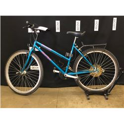 GREEN SPECIALIZED HARD ROCK 21 SPEED MOUNTAIN BIKE, MISSING CHAIN, 65 CM STANDOVER HEIGHT
