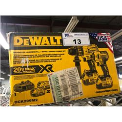 DEWALT FLEXVOLT BRUSHLESS 20V MAX XR BRUSHLESS HAMMERDRILL/IMPACT DRIVER COMBO KIT, DCK299M2, IN