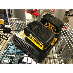 DEWALT DUAL  BATTERY CHARGER WITH 2 20 VOLT BATTERIES