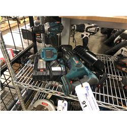 ASSORTED MAKITA INC. RECIPROCATING SAW, DRILLS, CHARGER AND MORE