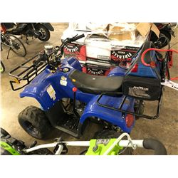 BLUE YOUTH SIZE GAS POWERED ATV, NOT RUNNING, WITH JUMP STARTER