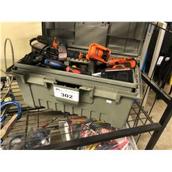 PLANO TOOL BOX WITH ASSORTED CORDLESS TOOLS, HAND TOOLS, SCREW DRIVERS AND MORE