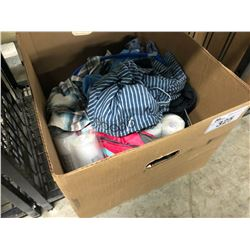 BOX OF ASSORTED OUTDOOR CLOTHING, ACCESSORIES AND MORE