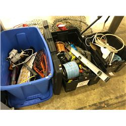 3 BINS OF ASSORTED TOOLS, CABLES, LIGHTS, 2 DUFFLE BAGS AND MORE