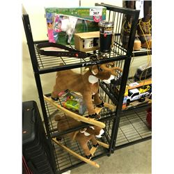 3 SHELVES OF ASSORTED TOYS AND HOUSEHOLD ITEMS