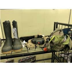 FISHING GEAR INC. VEST, TACKLE BAG, BOOTS AND MORE