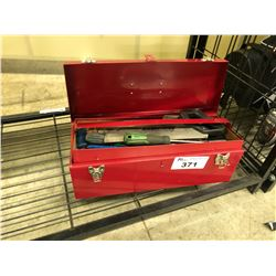TOOL BOX WITH ASSORTED TOOLS ETC.