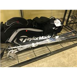 LOT OF GOLF CLUBS AND TAYLORMADE BAG, LEFT HAND