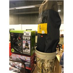 ICE FISHING TIP UP, 3,800 BTU HEATER, FOLDING CHAIR AND 5 GALLON BUCKET