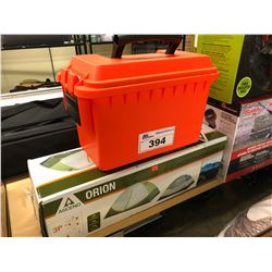WATERPROOF TACKLE BOX AND ORION 3 PERSON TENT