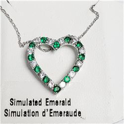 "SILVER SIMULATION EMERALD 18"" NECKLACE"