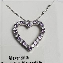 SILVER SIMULATION ALEXANDRITE 18  NECKLACE