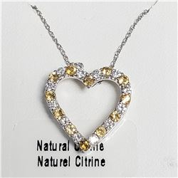 """SILVER NATURAL CITRINE 18"""" NECKLACE"""