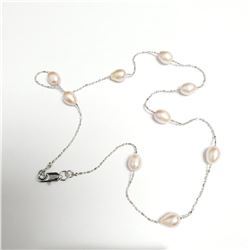 """SILVER FRESH WATER PEARL 18"""" NECKLACE"""