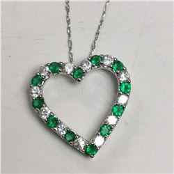 SILVER SIMULATED EMERALD NECKLACE