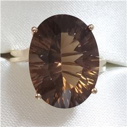 10K YELLOW GOLD SMOKEY QUARTZ(7CT) RING