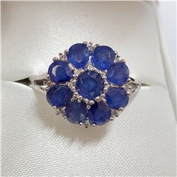 RHODIUM PLATED STERLING SILVER SAPPHIRE(5CT) RING