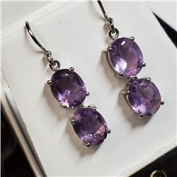 RHODIUM PLATED STERLING SILVER AMETHYST(8CT) EARRINGS