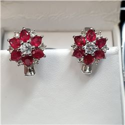 RHODIUM PLATED STERLING SILVER RUBY (3CT) EARRINGS