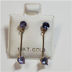 10K YELLOW GOLD TANZANITE(1CT) EARRINGS