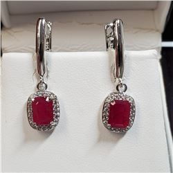 RHODIUM PLATED STERLING SILVER RUBY(2CT) EARRINGS
