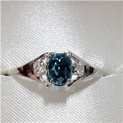 10K WHITE GOLD BLUE ZIRCONIA(1CT) DIAMOND(0.04CT) RING