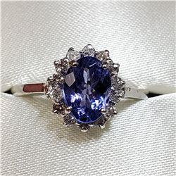 10K WHITE GOLD TANZANITE(1.22CT) DIAMOND(0.28CT) RING