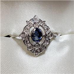 14K WHITE GOLD SAPPHIRE(0.33CT) DIAMOND(0.14CT) RING